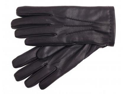 Pánské kožené rukavice zateplené králičí kožešinou 2019 černé