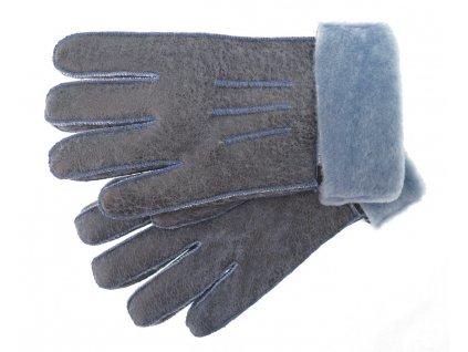 Kožešinové rukavice z ovčiny modré