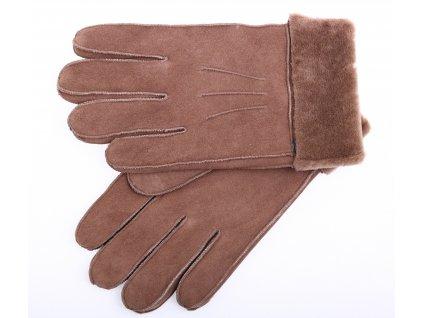 Kožešinové rukavice prstové PR17 světle hnědé vel. L/XL