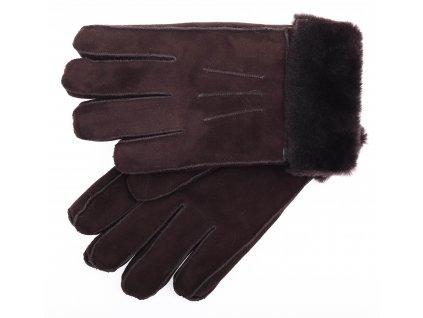 Kožešinové rukavice prstové PR16 tmavě hnědé vel. L/XL