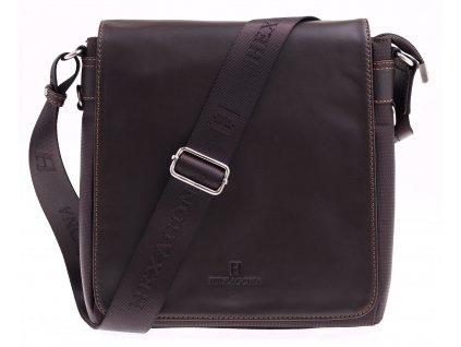 Pánská nylonová crossbody taška Hexagona 299156 hnědá s koženou klopnou