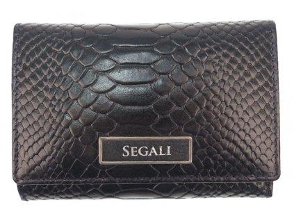 Dámská kožená peněženka Segali 910199510 tmavě modrá hadí kůže