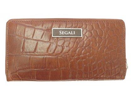 Velká kožená peněženka na zip Segali 910199124 koňakově hnědá krokodýlí kůže