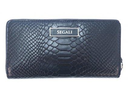 Velká kožená peněženka penál na zip Segali 910199124 tmavě modrá hadí kůže