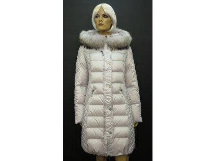 Dámská zimní péřová bunda s pravou kožešinou Leder Pellicce - světle šedá Běla
