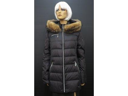 Černá zimní prošívaná bunda s kožešinou Leder Pellicce Milena