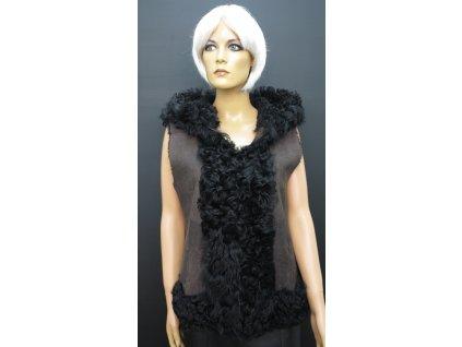 Kožešinová vesta s kapucí hnědá