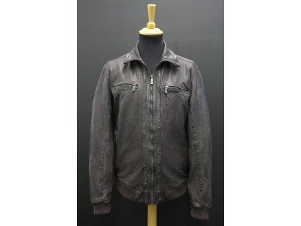 Pánská kožená bunda do pasu Deercraft Jet antracitově šedočerná