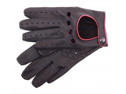Pánské kožené řidičské rukavice 1452P černé s červeným štepováním a doplňky