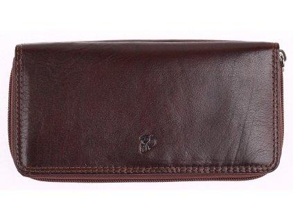 Kožená peněženka - penál na zip Cosset 4401 Komodo hnědá
