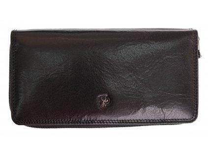 Velká kožená peněženka na zip s organizérem Cosset 4401 Komodo černá