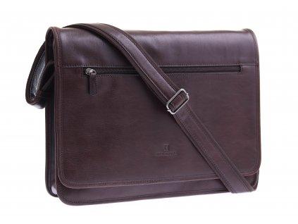Pánská kožená messenger taška Hexagona 129482 tmavě hnědá