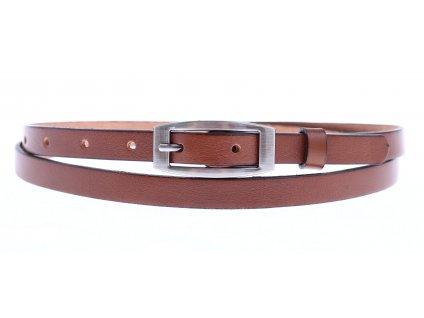 Dámský úzký kožený opasek Penny Belts 15-2-42 středně hnědý