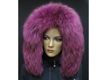 Kožešina na kapuci z finského mývalovce 2077 FUCHSIE