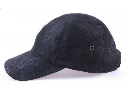 Luxusní kožená kšiltovka KS20 černá broušená skopovice - pánská i dámská