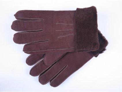 Kožešinové rukavice prstové hnědé z ovčiny