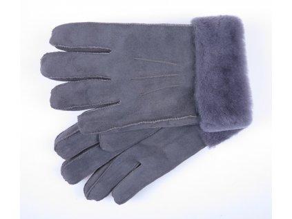 Pánské zimní kožešinové rukavice prstové šedé xl