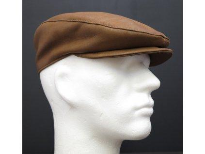 Pánská kožená čepice s kšiltem bekovka BE12 koňakově hnědá