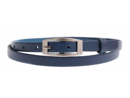 Dámský úzký kožený opasek Penny Belts 1515 tmavě modrý