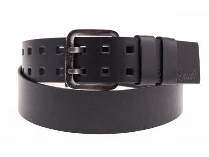 Široký pánský kožený opasek Black Hand se dvěma trny 011-98 černý