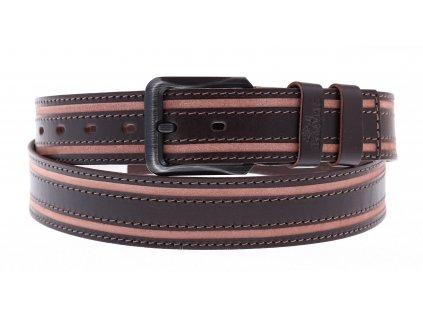 Pánský dvoubarevný kožený opasek Black Hand 115-93 tmavě hnědý