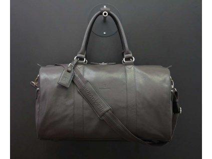Tmavě hnědá cestovní kožená taška Hexagona 462546 pravá kůže