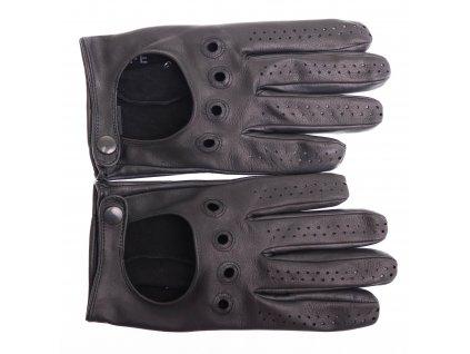 Pánské kožené autorukavice 1448P černé - perforované na prstech