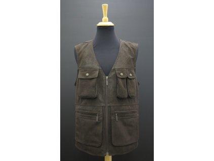 pánská kožená vesta s kapsami lovecká