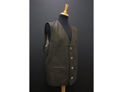 Pánská kožená vesta z broušené jehnětiny F19 olivově zelená s knoflíky z paroží - myslivecká