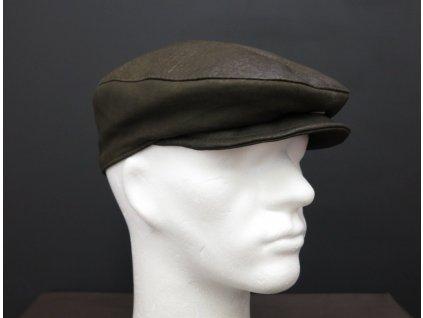 Pánská kožená čepice s kšiltem bekovka BE11 hnědozelená olivová