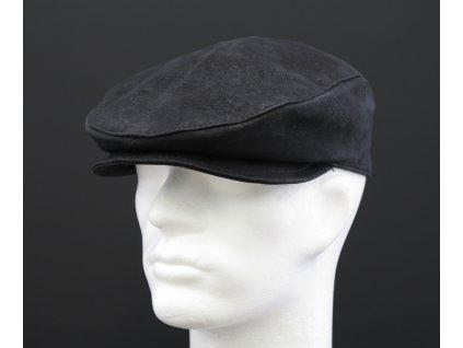 Pánská kožená čepice s kšiltem - bekovka BE09 tmavě šedá broušená teletina - antracitová