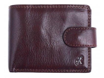Malá pánská kožená peněženka Cosset 4411 Komodo hnědá se zapínáním