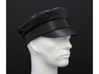 Kožená čepice masaryčka kapitánka brigadýrka MA1 černá - český výrobek