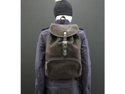 9ed1f81bec7 Dámský kožený batoh Navigator z tmavě hnědé broušené skopovice - poslední  kus