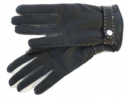 Luxusní dámské kožené rukavice 4383 černobílé