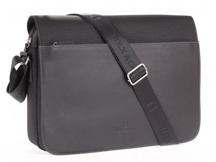 Pánská messenger taška přes rameno Hexagona 292682 černá kůže a nylon B