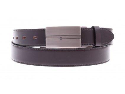 Pánský kožený opasek Penny Belts 3519 tmavě hnědý společenský s plnou sponou