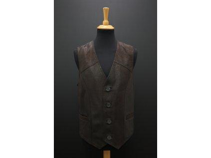 Pánská kožená vesta z broušené jehnětiny F18 tmavě hnědá