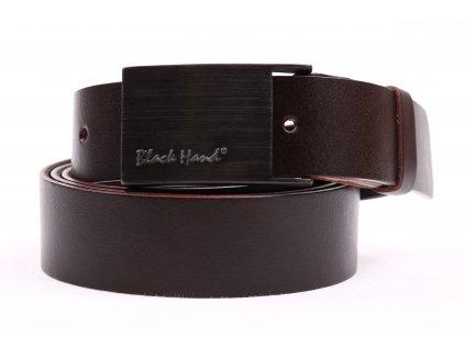 Dámský kožený opasek Black Hand 065-93 tmavě hnědý s plnou sponou