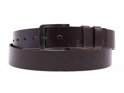 Pánský kožený opasek Black Hand 106-93 tmavě hnědý