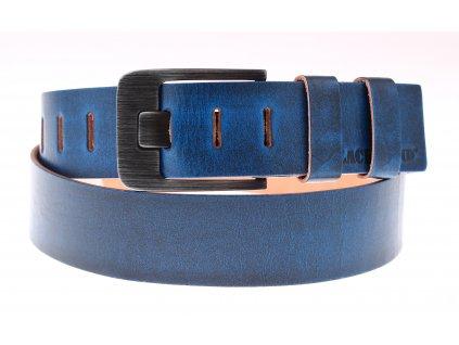 Široký pánský kožený opasek Black Hand 010-43 modrý s patinou