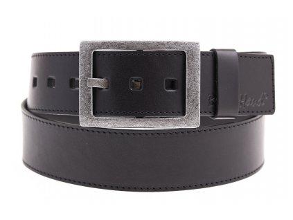 Široký pánský kožený opasek Black Hand 067-98 černý prošívaný