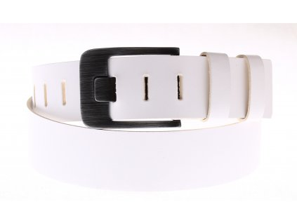 Široký pánský kožený pásek Black Hand 010-00 bílý