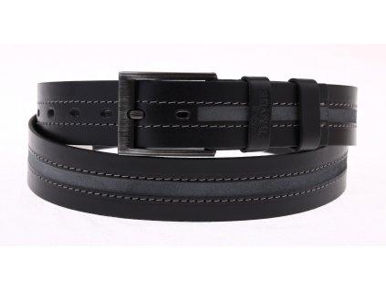 Pánský kožený opasek Black Hand 100-98 černý s šedým pruhem