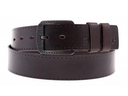 Pánský kožený opasek Black Hand 101-93 tmavě hnědý