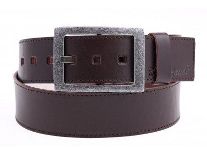 Široký pánský kožený opasek Black Hand 067-93 tmavě hnědý prošívaný