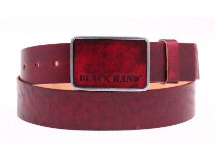 Pánský kožený opasek Black Hand 018-53 vínově červený s plnou sponou