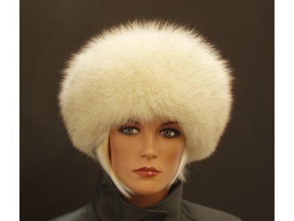 Dámská kožešinová čepice kulatá z polární lišky