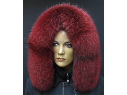 Kožešinový lem na kapuci z finského mývalovce - 4083 RED