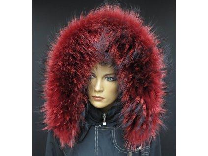 Kožešina na kapuci z finského mývalovce 4084 RED